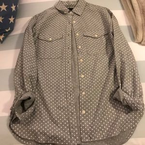 Jcrew Gray and White Polkadot Flannel 2